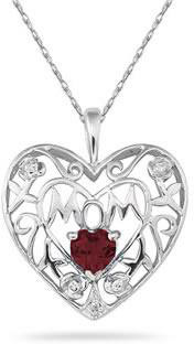 Garnet and Diamond Mother's Rose Pendant, 10K White Gold