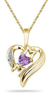 Heart-Shaped Amethyst and Diamond MOM Pendant, 10K Yellow Gold