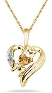 Heart-Shaped Citrine and Diamond MOM Pendant, 10K Yellow Gold