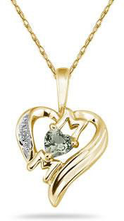 Heart-Shaped Green Amethyst and Diamond MOM Pendant, 10K Yellow Gold