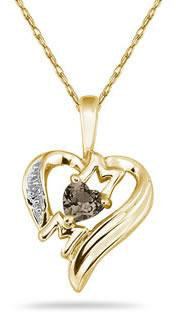 Heart-Shaped Smokey Quartz and Diamond MOM Pendant, 10K Yellow Gold