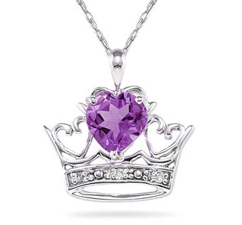 Crown Heart Amethyst and Diamond Pendant