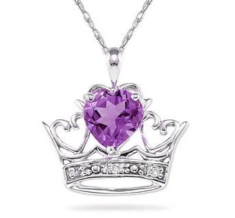 Crown Heart Amethyst and Diamond Pendant