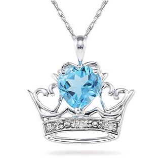 Crown Heart Blue Topaz and Diamond Pendant