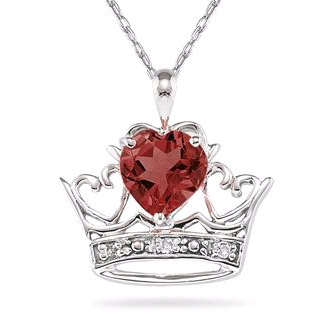 Crown Heart Garnet and Diamond Pendant