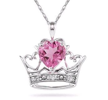 Crown Heart Pink Topaz and Diamond Pendant