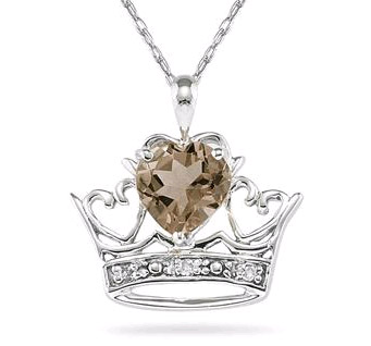 Crown Heart Smokey Quartz and Diamond Pendant