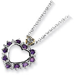 Amethyst and Diamond Heart Necklace in Sterling Silver