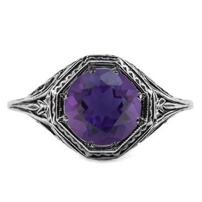 Art Deco Style Amethyst Ring in 14K White Gold
