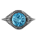 Art Deco Style Blue Topaz Ring in 14K White Gold
