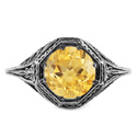 Art Deco Style Citrine Ring in 14K White Gold