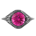 Art Deco Style Pink Topaz Ring in 14K White Gold