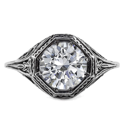 Art Deco Style White Topaz Ring in 14K White Gold
