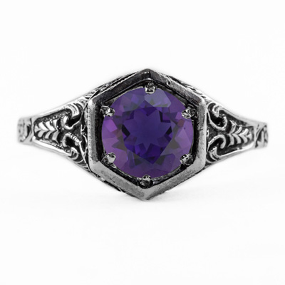 Art Nouveau Style Amethyst Ring in 14K White Gold