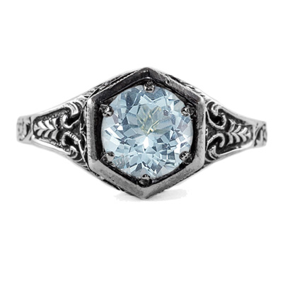 Art Nouveau Style Aquamarine Ring in 14K White Gold