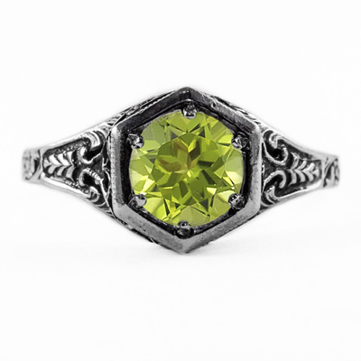 Art Nouveau Style Peridot Ring in Sterling Silver