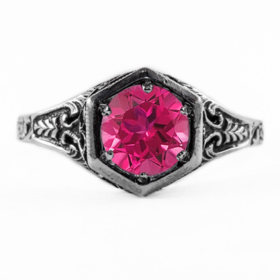 Art Nouveau Style Pink Topaz Ring in 14K White Gold