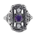 Art Nouveau Style Three Stone Amethyst and Diamond Ring in Sterling Silver