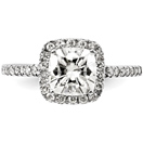 2.12 Carat Cushion-Cut Moissanite Halo Ring