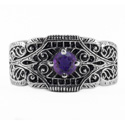 Edwardian Design Filigree Amethyst Band in 14K White Gold
