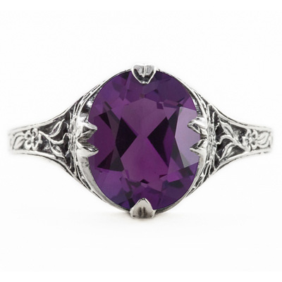 Edwardian Style Floral Design Oval Amethyst Ring in 14K White Gold