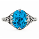 Edwardian Style Floral Design Oval Blue Topaz Ring in Sterling Silver