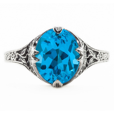 Vintage Style Jewelry, Retro Jewelry Edwardian Style Floral Design Oval Blue Topaz Ring in 14K White Gold $649.00 AT vintagedancer.com