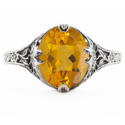 Edwardian Style Floral Design Oval Citrine Ring in 14K White Gold