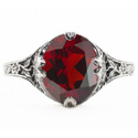 Edwardian Style Floral Design Oval Garnet Ring in 14K White Gold