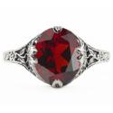 Edwardian Style Floral Design Oval Garnet Ring in 14K White Gold