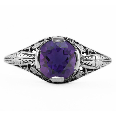 Floral Design Art Nouveau Inspired Amethyst Ring in Sterling Silver