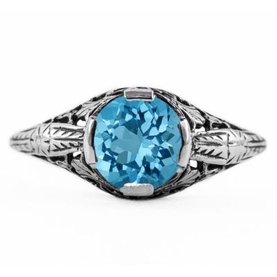 Floral Design Art Nouveau Inspired Blue Topaz Ring in Sterling Silver