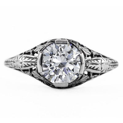 Floral Design Art Nouveau Inspired White Topaz Ring in Sterling Silver