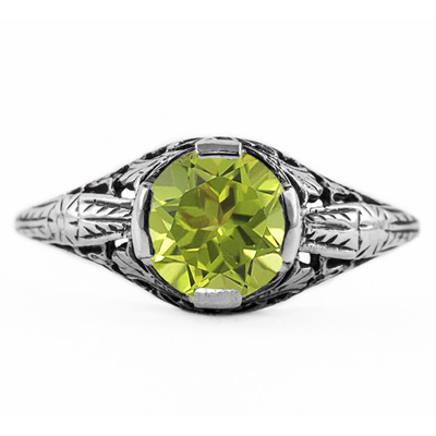 Floral Design Art Nouveau Inspired Peridot Ring in Sterling Silver