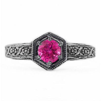Floral Ribbon Design Vintage Style Pink Topaz Ring in Sterling Silver