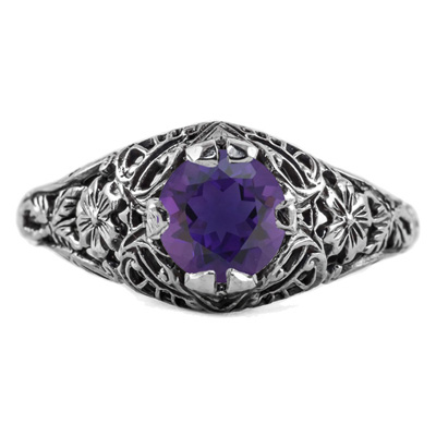 Floral Edwardian Style Amethyst Ring in Sterling Silver