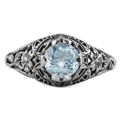 Floral Edwardian Style Aquamarine Ring in 14K White Gold