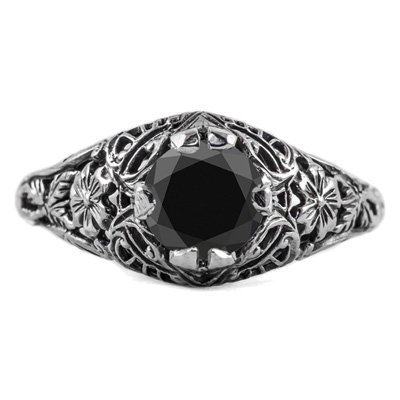 Floral Edwardian Style Black Diamond Ring in 14K White Gold