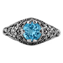 Floral Edwardian Style Blue Topaz Ring in 14K White Gold
