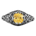 Floral Edwardian Style Citrine Ring in 14K White Gold