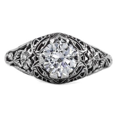 Floral Edwardian Style CZ Ring in 14K White Gold