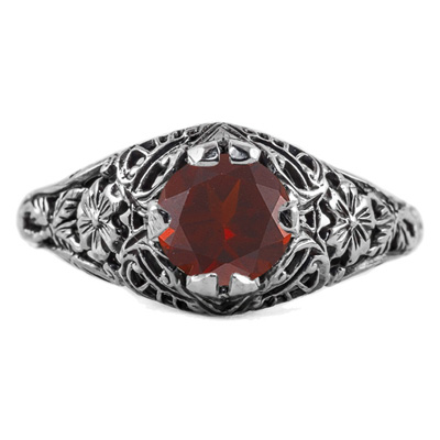 Floral Edwardian Style Garnet Ring in 14K White Gold