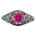 Floral Edwardian Style Pink Topaz Ring in Sterling Silver