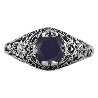 Floral Edwardian Style Sapphire Ring in 14K White Gold