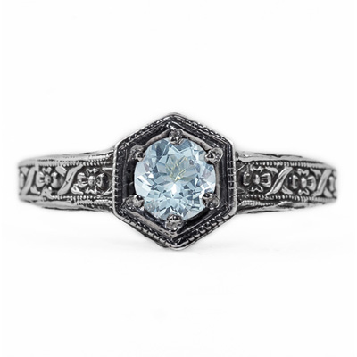 Floral Ribbon Design Vintage Style Aquamarine Ring in 14K White Gold