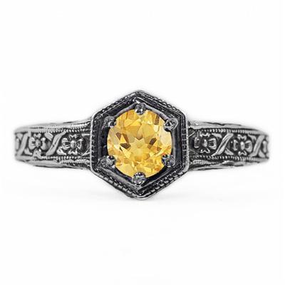 Floral Ribbon Design Vintage Style Citrine Ring in 14K White Gold