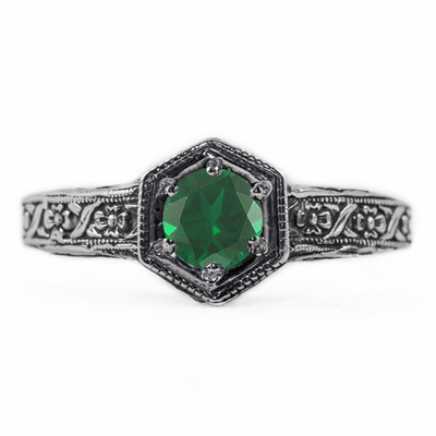 Floral Ribbon Design Vintage Style Emerald Ring in 14K White Gold