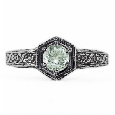 Floral Ribbon Design Vintage Style Green Amethyst Ring in 14K White Gold
