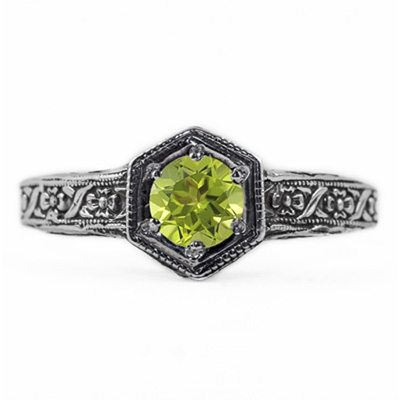 Floral Ribbon Design Vintage Style Peridot Ring in 14K White Gold