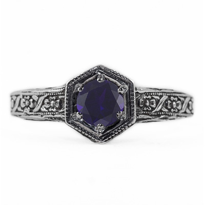 Floral Ribbon Design Vintage Style Sapphire Ring in Sterling Silver